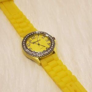 Geneva Women's Yellow Quartz Watch w/ Rhinestones